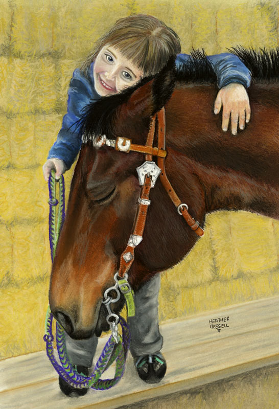 Girl and Horse - Soft Pastel